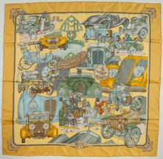 """Hermes yellow and green """"Automobile"""" design scarf, by Joachim Metz."""