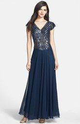 J Kara Embellished Chiffon Gown