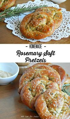 Homemade Rosemary Soft Pretzels. Soft, fresh and delicious homemade pretzels. They are topped with coarse salt and fresh rosemary. |  from willcookforsmiles.com