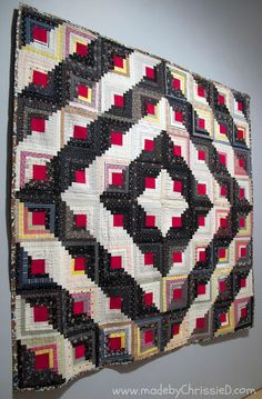 """Log Cabin Quilt, Barn Raising Setting, circa 1890. Brooklyn Museum """"Work by Hand: Hidden Labor and Historical Quilts"""" exhibition."""