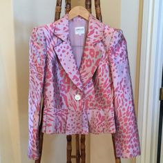 "Pink Leopard Armani Jacket Pink Leopard Armani Jacket. Size 4. Fits Like a 2/4.  Worn Gently. Beautiful Condition. Dry Cleaned. Extra Buttons Covered. Measures= Under Arm To Under Arm Apx. 15.5"" Shoulder To Arm 23"". Giorgio Armani Jackets & Coats"