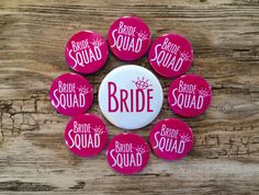 Bride Squad Pins, Bachelorette Party, Hen Night Badges, Bride Button, Hot Pink, Last Fling, Bright White, Classy Bridal Shower, Magnet Back by bethofalltrades on Etsy https://www.etsy.com/listing/401401988/bride-squad-pins-bachelorette-party-hen