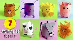 7 animales con tubos de papel
