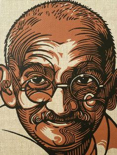 Beautiful linocut portrait by Nick Morley for Gandhi Autobiography - possible stylistic reference for a papercut?