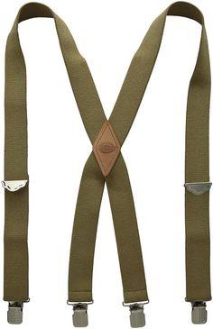 Dickies Men's 1-1/2 Solid Straight Clip Suspender,Beige,One Size