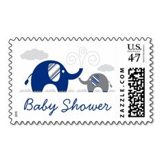 mod navy blue gray elephant baby shower postage