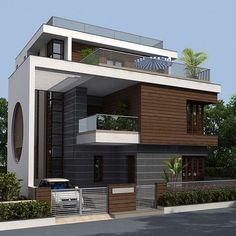 Image may contain: house, sky, tree and outdoor Modern Exterior House Designs, Best Modern House Design, Modern House Facades, Bungalow Exterior, Modern Architecture House, Amazing Architecture, Exterior Design, Bungalow Haus Design, Duplex House Design