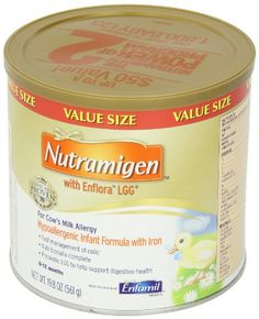 Nutramigen with Enflora LGG, For Cow's Milk Allergy, 19.8 Oz (Pack of 4).  Nutramigen with Enflora LGG is a proven hypoallergenic infant formula specially designed to manage colic due to cow's milk protein allergy.   With the Power of Two, an extensively hydrolyzed protein to reduce babies' allergen exposure and the probiotic LGG to help the strength of their intestinal.......See more at: http://babytotoddlers.com/baby/nutramigen-with-enflora-lgg-for-cow39s-milk-allergy-198-oz-pack-of-4-com/