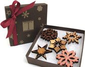 Personalized Snowflake Ornament Gift Box Set - Sustainable Harvest Wisconsin Wood . Timber Green Woods. $24.95, via Etsy.