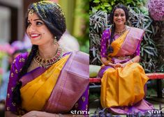 Priyanka Dutta wearing yellow traditional silk saree with purple zari weave stripes border, Paired with elbow length sleeves kundan work blouse Gold Silk Saree, Silk Sarees, Bridal Blouse Designs, Saree Blouse Designs, Traditional Silk Saree, Modern Saree, Perfect Bride, Kanchipuram Saree, Saree Look
