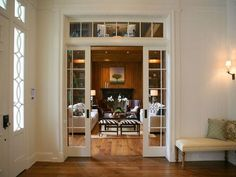 Pocket doors with glass/transom