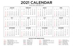 2021 Monthly Calendar Print Calendar, Yearly Calendar, 2021 Calendar, Monthly Calendars, Planning Your Day, Important Dates, Months In A Year, Read More, Free Printables