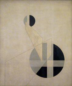 Composición XX.Una de las principales figuras de la Bauhaus, construcciones de László Moholy-Nagy, composiciones y fotogramas comunican una sensación de espacio infinito, enraizada en la modernidad y la producción en masa.