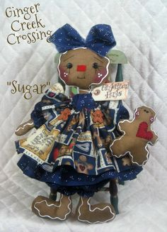"""Primitive NEW Raggedy Gingerbread Doll """"COOKIE"""" with Baby"""