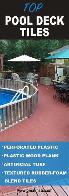 Take a look at the top pool deck tiles Greatmats has to offer.