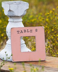 Wedding Table Numbers Distressed, Shabby Chic, Rustic, Beach Picture Frame. PICK YOUR COLOR and Add Pictures of Bride and Groom. $14.50, via Etsy.