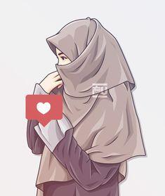 Love Cartoon Couple, Girl Cartoon, Anime Girl Dress, Anime Art Girl, Hijabi Girl, Girl Hijab, Tmblr Girl, Hijab Drawing, Islamic Cartoon