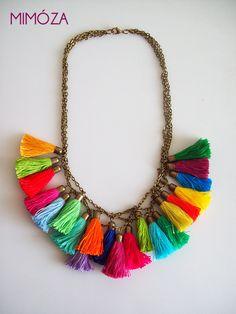Fun in the Sun Tassel Necklace by mimoza on Etsy Tassel Bracelet, Tassel Jewelry, Fabric Jewelry, Jewelery, Jewelry Crafts, Handmade Jewelry, Unique Jewelry, Cotton Cord, Chunky Jewelry