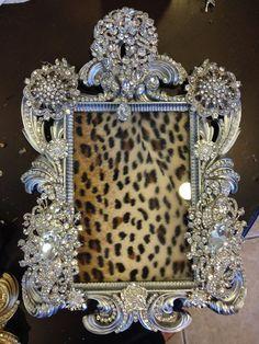 Embellished brooch rhinestone frame on Etsy, $150.00