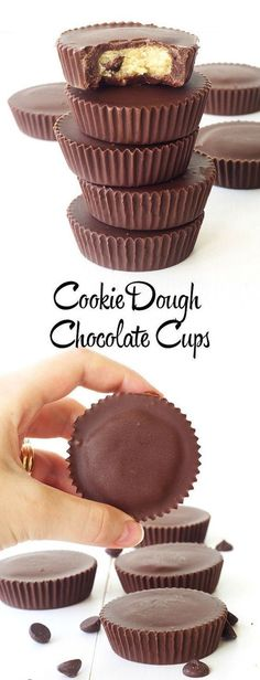 No bake Chocolate Chip Cookie Dough Chocolate Cups! So easy!