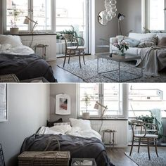 Love the soft colours in this studio apartment by @styledbyemmahos for @bjurfors_goteborg