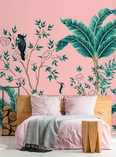 If you are a lover of all things pink and can't get enough of the on-trend palm tree look, then this Pink Paradise wall mural is perfect for you! What a fantastic feature wall this would make in your stylish bedroom! We offer three types: classic or premium paste the wall or textured peel and stick wallpaper. Paste the wall comes with a FREE paste and peel and stick is self-adhesive so no paste is required. Click to see our large collection of wall murals at wallsauce.com #wallmural Wallpaper Paste, Peel And Stick Wallpaper, Bedroom Wallpaper, Wall Wallpaper, Pink Jungle Wallpaper, Red Bedroom Decor, Stylish Bedroom, Sketchbook Inspiration, Beautiful Bedrooms