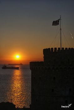Sunset at white tower Thessaloniki, Greece, Tower, Celestial, Explore, Sunset, Outdoor, Greece Country, Outdoors