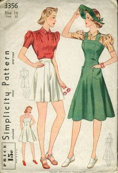 Simplicity 3356 ©1940; Misses' Blouse, Shorts and Jumper Dress in Two Lengths