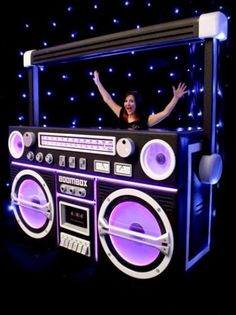Ghetto Blaster Prop With Lights - Black Boom box bar and/or DJ stand. Great prop from Event Prop Hire.Boom box bar and/or DJ stand. Great prop from Event Prop Hire. Hip Hop Party, Dj Party, Retro Party, Glow Party, Party Props, Party Time, Ideas Party, Neon Party Themes, Disco Party Decorations