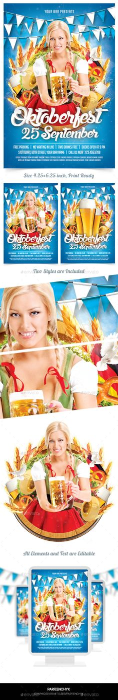 Oktoberfest Party Flyer Template #design Download: http://graphicriver.net/item/oktoberfest-party-flyer-template/12677163?ref=ksioks