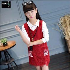 $23.05 (Buy here: https://alitems.com/g/1e8d114494ebda23ff8b16525dc3e8/?i=5&ulp=https%3A%2F%2Fwww.aliexpress.com%2Fitem%2F2016-New-Selling-Princess-Children-Suit-Kids-Girls-Autumn-Red-Lace-Dress-Long-Sleeve-Shirt-2PCS%2F32724889140.html ) 2016 New Selling Princess Children Suit, Kids Girls Autumn Red Lace Dress+Long Sleeve Shirt 2PCS Sets Children's Clothing 5-15Y for just $23.05