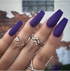 """If you're unfamiliar with nail trends and you hear the words """"coffin nails,"""" what comes to mind? It's not nails with coffins drawn on them. It's long nails with a square tip, and the look has. Purple Acrylic Nails, Coffin Nails Matte, Best Acrylic Nails, Blue Nails, Glitter Nails, Acryl Nails, Nagel Hacks, Dream Nails, Trendy Nails"""