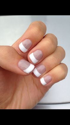 Light grey with thick French tip gel manicure.
