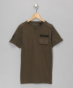 Take a look at this Indigo Star Green Olive Button Tee - Boys by Blow-Out on #zulily today! #fall