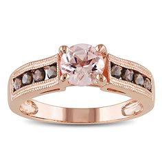 <li>Round-cut morganite and smokey quartz ring</li> <li>Sterling silver jewelry</li> <li><a href='http://www.overstock.com/downloads/pdf/2010_RingSizing.pdf'><span class='links'>Click here for ring sizing guide</span></a></li>