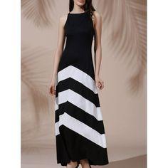 22.79$  Buy now - http://dik8r.justgood.pw/go.php?t=113080601 - Sexy Sleeveless Halter Color Block Women's Dress