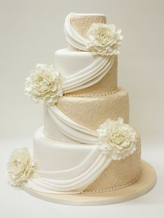 wedding cake with draped fondant - Bing Images