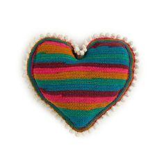 Red Heart Hearts of Pom Crochet Pillow in color Crochet Towel, Crochet Dishcloths, Crochet Pillow, Hand Crochet, Pet Sweaters, Red Heart Yarn, Easy Crochet Patterns, Hot Pads, Crochet For Kids