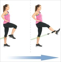 Standing leg Extensions With Clip Resistance Bands (or at chest-level, hold onto the top of a vertical dowel/pole for support)