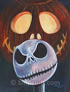 ORIGINAL Jack Skellington Nightmare Before Christmas painting art Bill Pruitt #JackSkellingtonArt #NightmareBeforeChristmas