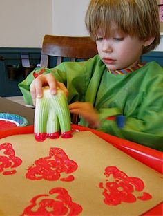painting roses with celery stalk - Beauty and the Beast craft