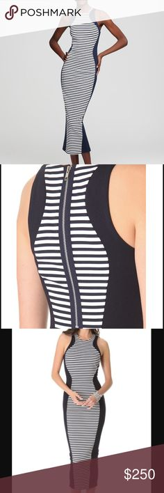 Torn by Ronny Kobo stripe midi Shiran dress Celebrity favorite brand Torn by Ronny Kobo size XS navy and cream stripe midi Shiran dress. Bodycon stretch with center back exposed half zip construction. In like new condition. As seen on khloe Kardashian and many more Hollywood fashionistas! Torn by Ronny Kobo Dresses Midi