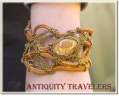 Antiquity Travelers - free form bead embroidery on an existing pie.Antiquity Travelers - free form bead embroidery on an existing piece Seed Bead Necklace, Beaded Necklace, Beaded Bracelets, Bead Embroidery Jewelry, Beaded Jewelry, Jewellery, Beaded Embroidery, Leather Cuffs, Leather Jewelry