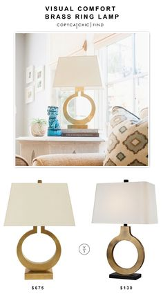 @neimanmarcus Visual Comfort Brass Ring Lamp $675 vs @lampsplus  Possini Euro Ivan Brass Ring Table Lamp $130