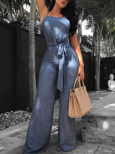 52d66f951f7 Shop Open Back Belted Wide Leg Denim Jumpsuit right now