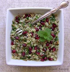 Pomegranate, Quinoa and Mint Salad    easy, gorgeous, delicious, vegan, gluten-free and more :)
