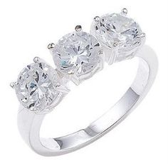 We Love Silver 3 Stone Engagement Trilogy Ring