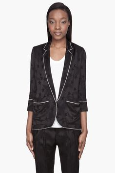 Smythe Black Semi_gloss Jacquard Pajama Blazer -  Smythe Black Semi_gloss Jacquard Pajama Blazer Smythe Cropped sleeve semi_gloss blazer in black. Matte star pattern embroidered throughout. White piping at seams. Notched lapel collar. Single_button closure and patch pockets at front. Lightly padded shoulders. Vented at back hem. Fully lined....