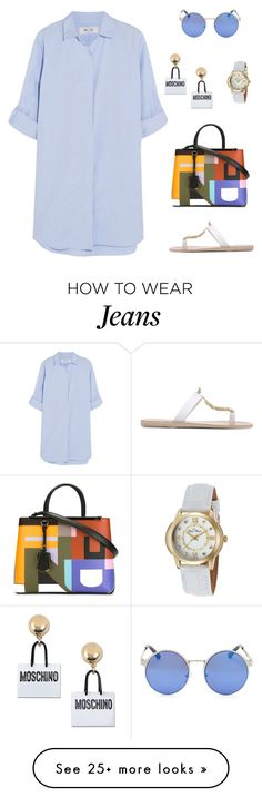 """""""Untitled #1728"""" by bushphawan on Polyvore featuring M.i.h Jeans, Moschino, Fendi, Lucien Piccard and Ancient Greek Sandals"""