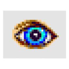 Shop pixel art blue eye drawing postcard created by Nrasksart. Minecraft Pattern, Pixel Pattern, Minecraft Pixel Art, Pattern Art, Minecraft Crafts, Minecraft Projects, Minecraft Stuff, Minecraft Ideas, Minecraft Skins
